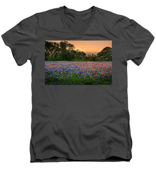 Men's V-Neck T-Shirt featuring the photograph Texas Sunset - Bluebonnet Landscape Wildflowers by Jon Holiday