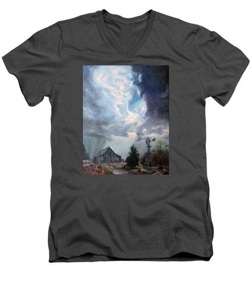 Texas Thunderstorm Men's V-Neck T-Shirt by Karen Kennedy Chatham