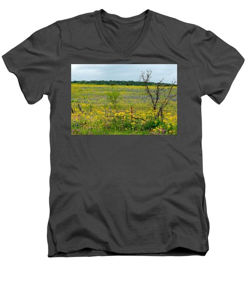Texas Wildflowers And Mesquite Tree Men's V-Neck T-Shirt