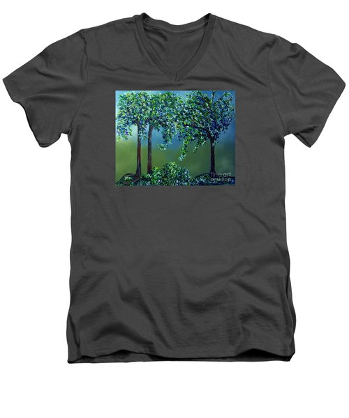 Men's V-Neck T-Shirt featuring the painting Texture Trees by Eloise Schneider