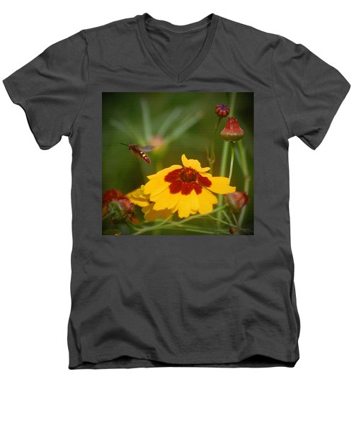 Men's V-Neck T-Shirt featuring the photograph Textured Bee by Leticia Latocki