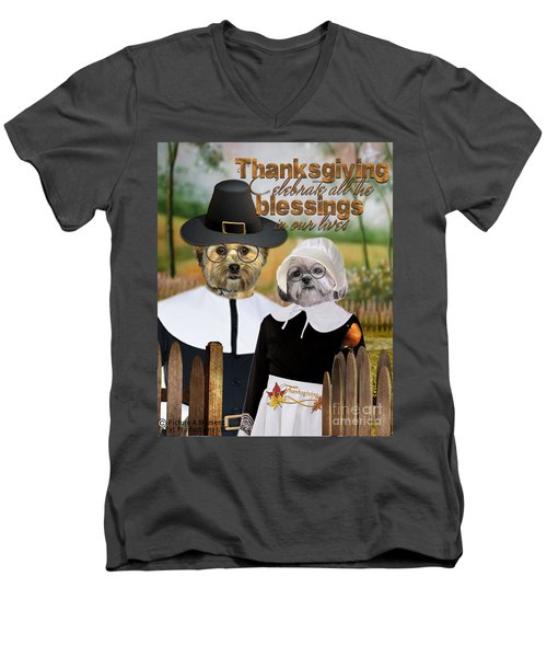 Men's V-Neck T-Shirt featuring the digital art Thanksgiving From The Dogs-2 by Kathy Tarochione