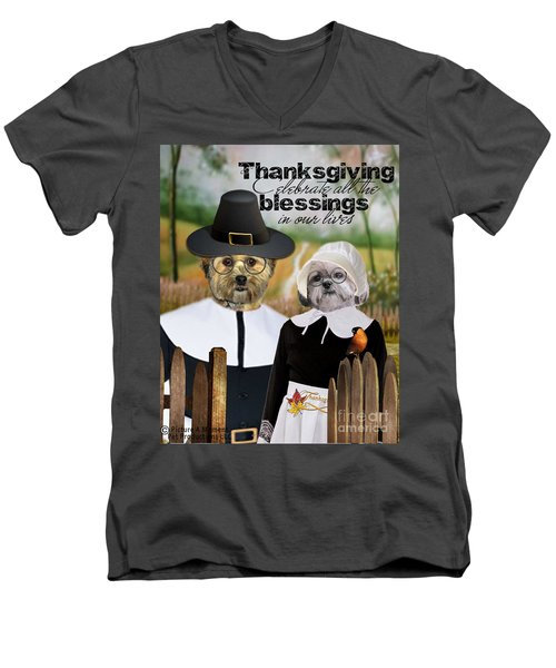 Men's V-Neck T-Shirt featuring the digital art Thanksgiving From The Dogs by Kathy Tarochione