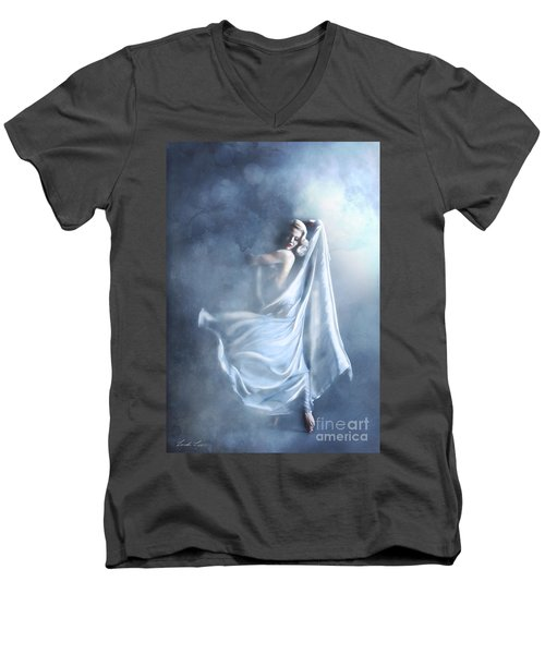 Men's V-Neck T-Shirt featuring the digital art That Single Fleeting Moment When You Feel Alive by Linda Lees