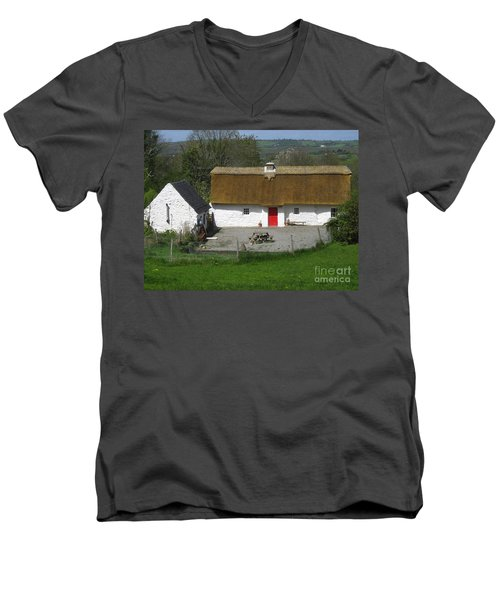 Thatched Cottage Men's V-Neck T-Shirt by Suzanne Oesterling