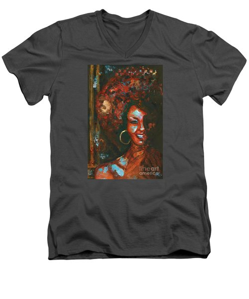 Men's V-Neck T-Shirt featuring the painting The 70s Were The Best by Alga Washington