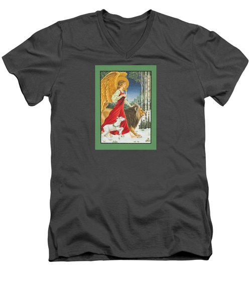The Angel The Lion And The Lamb Men's V-Neck T-Shirt