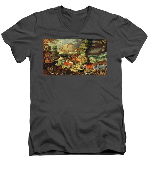 The Animals Entering The Ark Men's V-Neck T-Shirt by Jacob II Savery