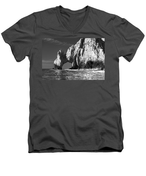 The Arch Cabo San Lucas In Black And White Men's V-Neck T-Shirt by Sebastian Musial