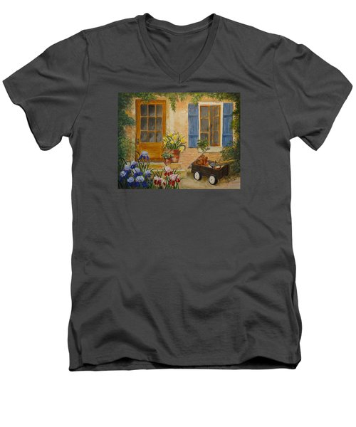 Men's V-Neck T-Shirt featuring the painting The Back Door by Marilyn Zalatan