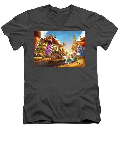 The Bavarian Village Men's V-Neck T-Shirt by Reynold Jay