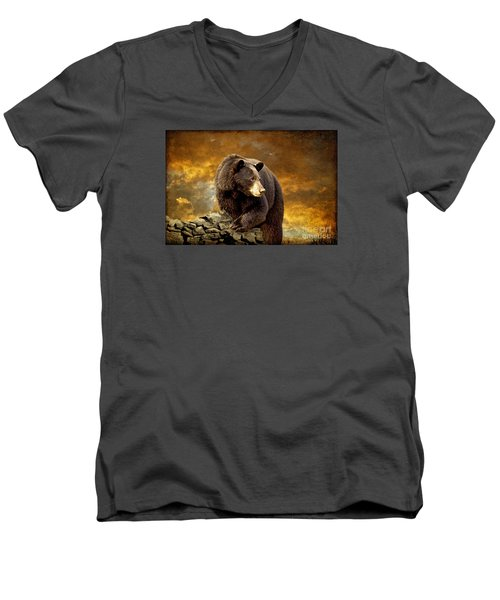 The Bear Went Over The Mountain Men's V-Neck T-Shirt by Lois Bryan