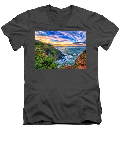 The Beauty Of Big Sur Men's V-Neck T-Shirt by Michael Pickett
