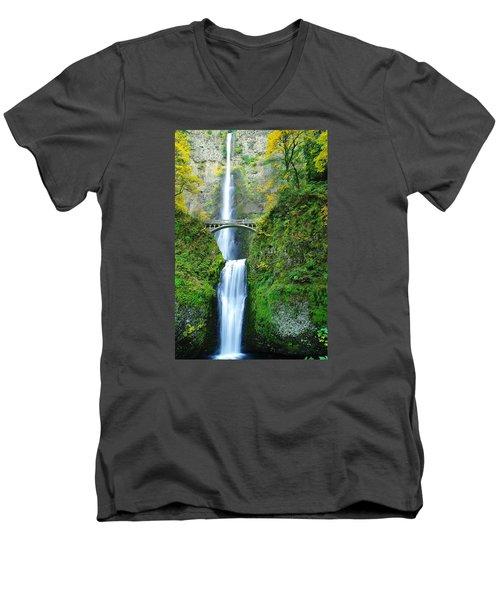 The Beauty Of Multnomah Falls Men's V-Neck T-Shirt