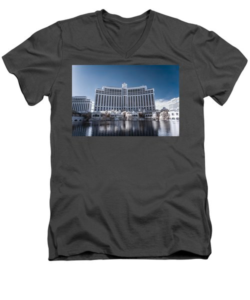 The Bellagio Hotel And Casino In Infrared Men's V-Neck T-Shirt