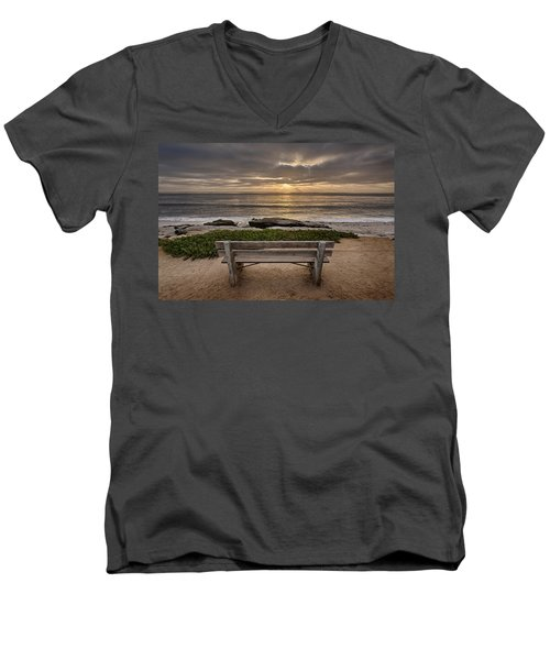 The Bench IIi Men's V-Neck T-Shirt by Peter Tellone