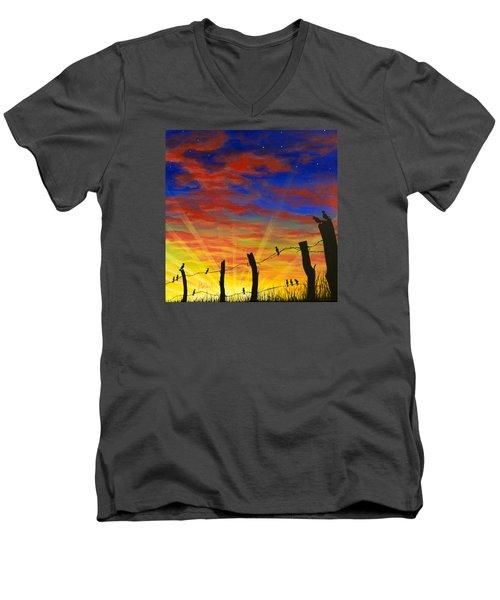 The Birds - Red Sky At Night Men's V-Neck T-Shirt