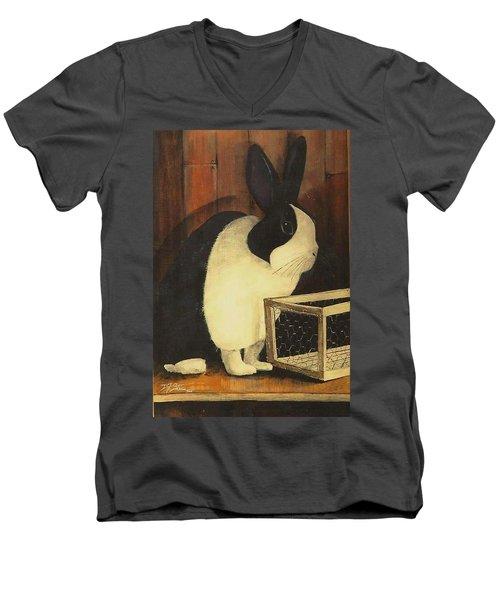 The Black And White Dutch Rabbit  2 Men's V-Neck T-Shirt