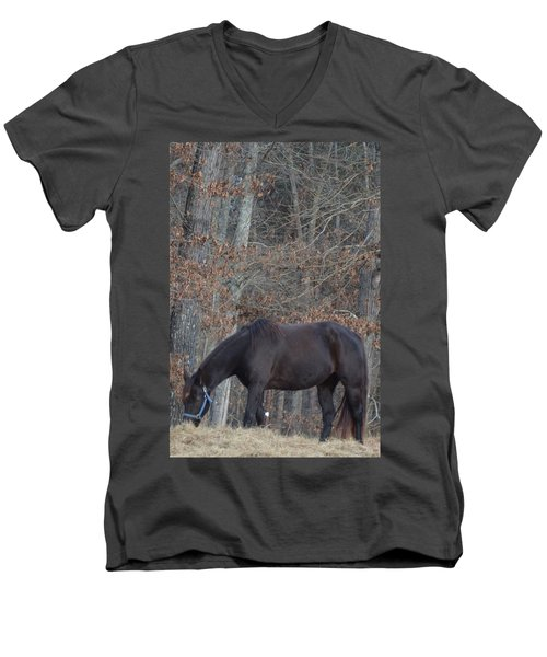 Men's V-Neck T-Shirt featuring the photograph The Black by Maria Urso