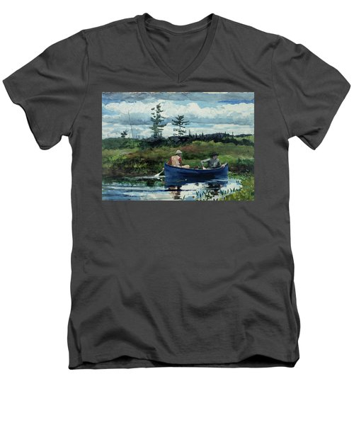 The Blue Boat Men's V-Neck T-Shirt by Winslow Homer