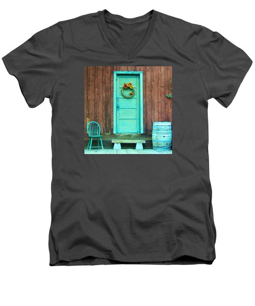 Men's V-Neck T-Shirt featuring the photograph The Blue Door by Marilyn Diaz