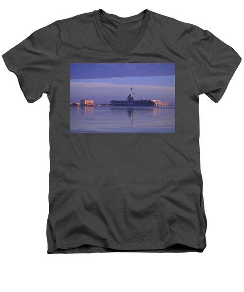 The Blue Ghost Men's V-Neck T-Shirt by Leticia Latocki