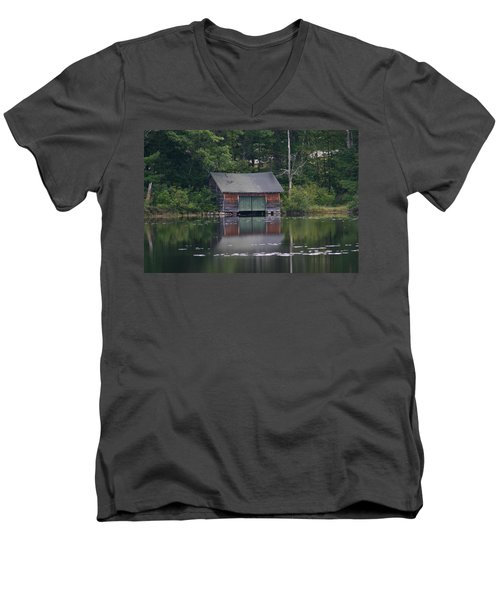 Men's V-Neck T-Shirt featuring the photograph The Boat House On Mt Chocorua Lake by Denyse Duhaime