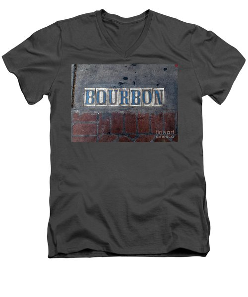 The Bourbon Street Sign Men's V-Neck T-Shirt by Joseph Baril