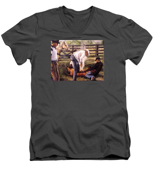 The Branding Men's V-Neck T-Shirt by Donna Tucker