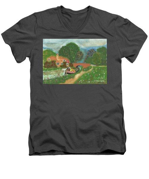 The Bridge Inn Men's V-Neck T-Shirt by John Williams