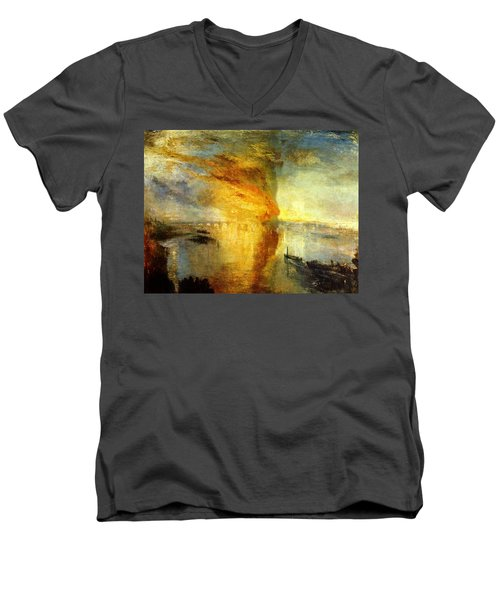 The Burning Of The Houses Of Lords And Commons Men's V-Neck T-Shirt