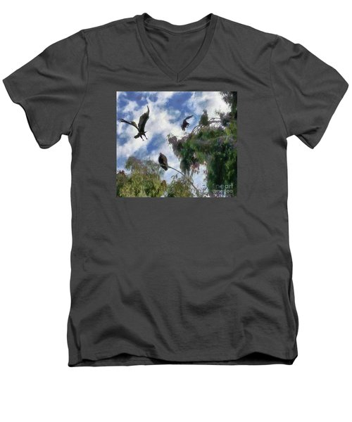 Men's V-Neck T-Shirt featuring the digital art The Buzzard Tree by Rhonda Strickland