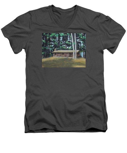 The Cabin Men's V-Neck T-Shirt by Jeanne Fischer