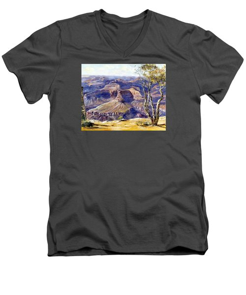 Men's V-Neck T-Shirt featuring the painting The Canyon by Lee Piper