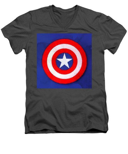 The Captain's Shield Men's V-Neck T-Shirt by Sandy MacGowan