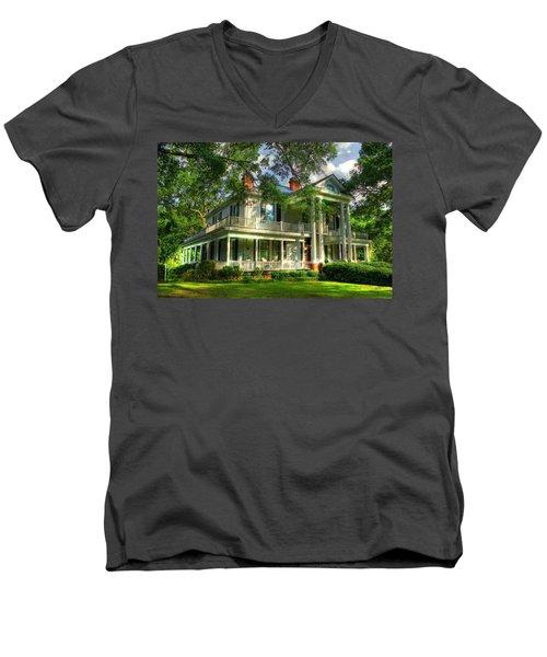 A Southern Bell The Carlton Home Art Southern Antebellum Art Men's V-Neck T-Shirt by Reid Callaway