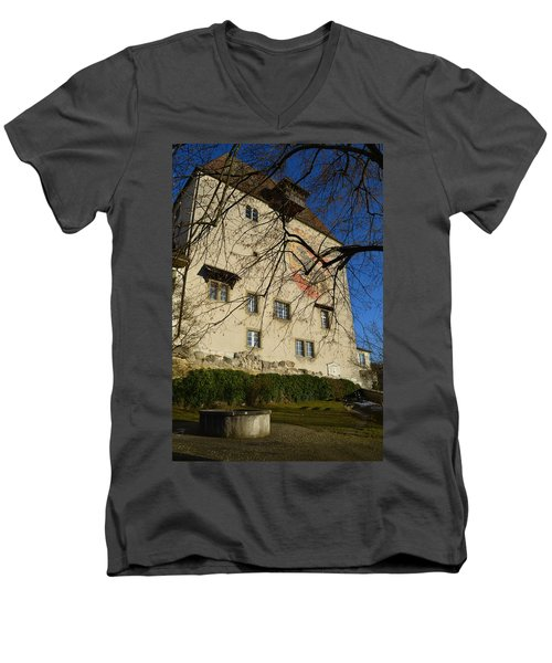 Men's V-Neck T-Shirt featuring the photograph The Castle Greets A Sunny Day by Felicia Tica