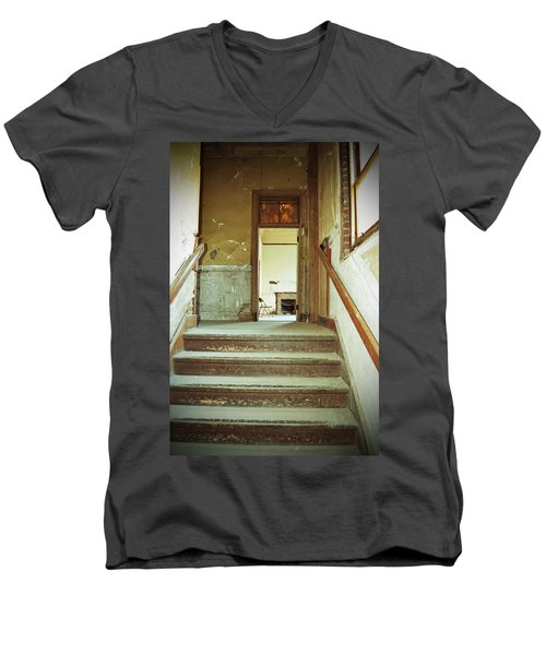 The Chair At The Top Of The Stairs Men's V-Neck T-Shirt by Holly Blunkall