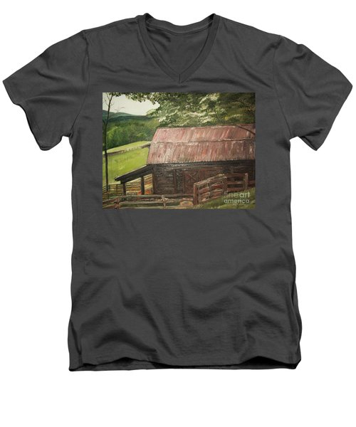 Men's V-Neck T-Shirt featuring the painting The Cherrys Barn by Jan Dappen