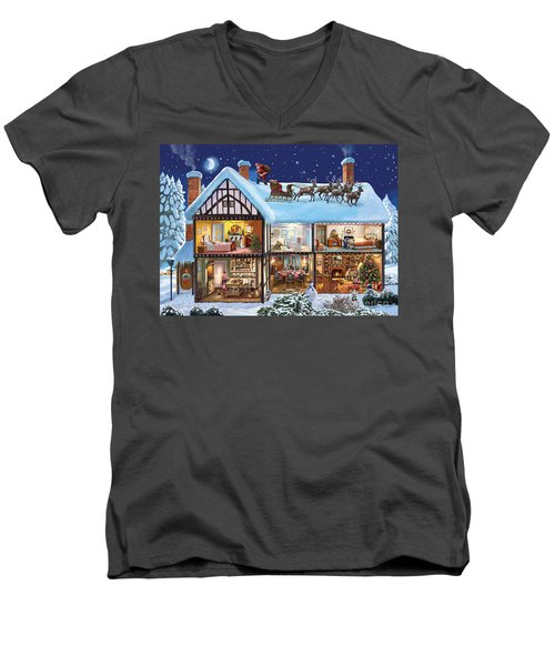 Christmas House Men's V-Neck T-Shirt by Steve Crisp