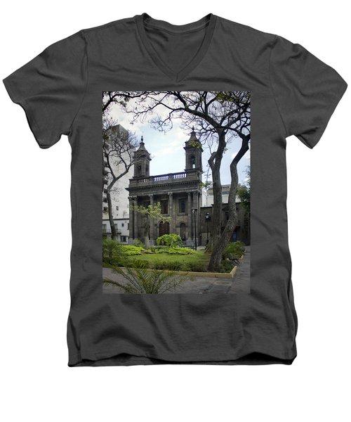 The Church Green Men's V-Neck T-Shirt by Lynn Palmer
