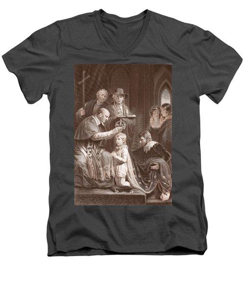 The Coronation Of Henry Vi, Engraved Men's V-Neck T-Shirt by John Opie
