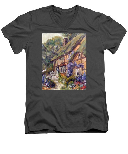 Men's V-Neck T-Shirt featuring the painting The Cottage by Donna Tucker