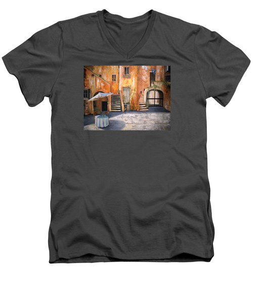 Men's V-Neck T-Shirt featuring the painting The Courtyard by Alan Lakin