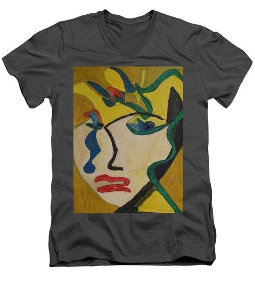 The Crying Girl Men's V-Neck T-Shirt