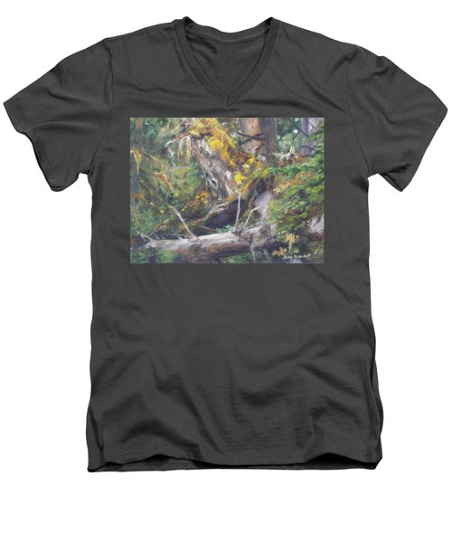 Men's V-Neck T-Shirt featuring the painting The Crying Log by Lori Brackett