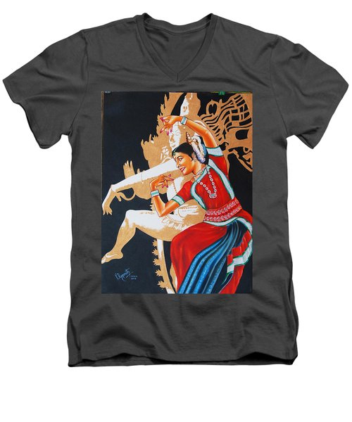 The Dance Divine Of Odissi Men's V-Neck T-Shirt by Ragunath Venkatraman