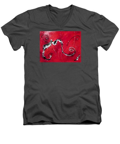 Men's V-Neck T-Shirt featuring the painting The Dance by Mary Kay Holladay