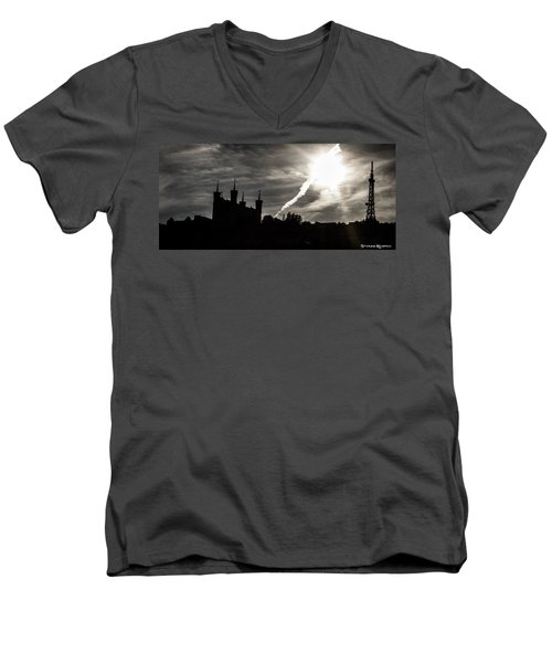 Men's V-Neck T-Shirt featuring the photograph The Dark Towers by Stwayne Keubrick