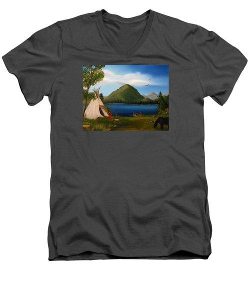 Dawn Of Tohidu Men's V-Neck T-Shirt by Sheri Keith